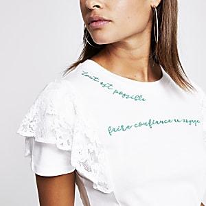 T-shirt à manches en dentelle et inscriptions brodées blanc