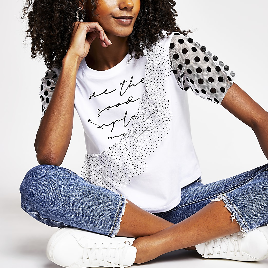White 'See the good' frill sleeve T-shirt