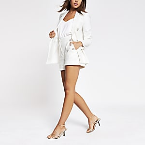 White sequin button front shorts