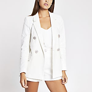 White sequin double breasted blazer
