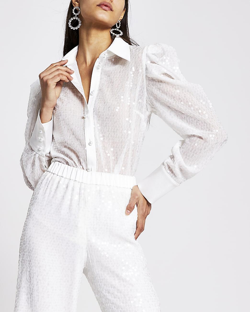 White sequin long puff sleeve sheer shirt