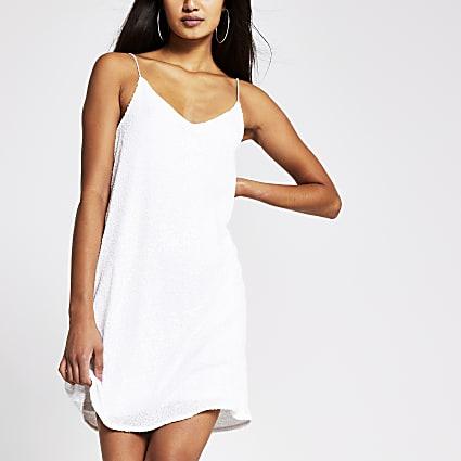 White sequin slip dress