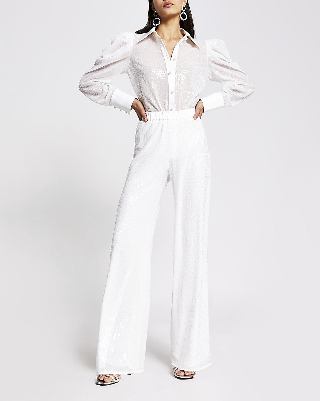 White sequin wide leg trouser