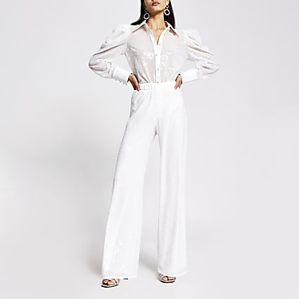 White sequin wide leg trouser
