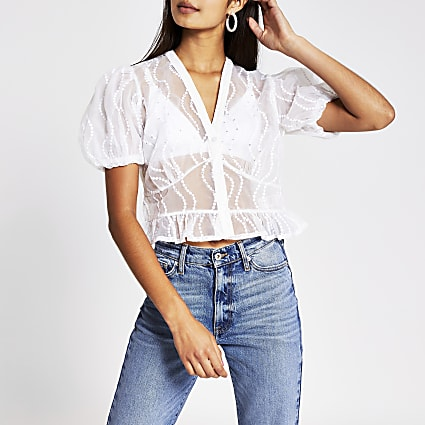White sheer embellished shirt