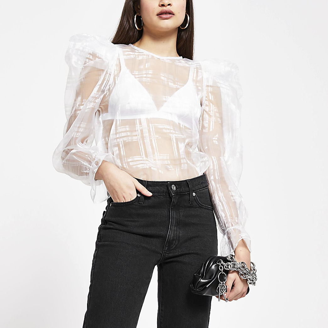 White sheer puff sleeve blouse top