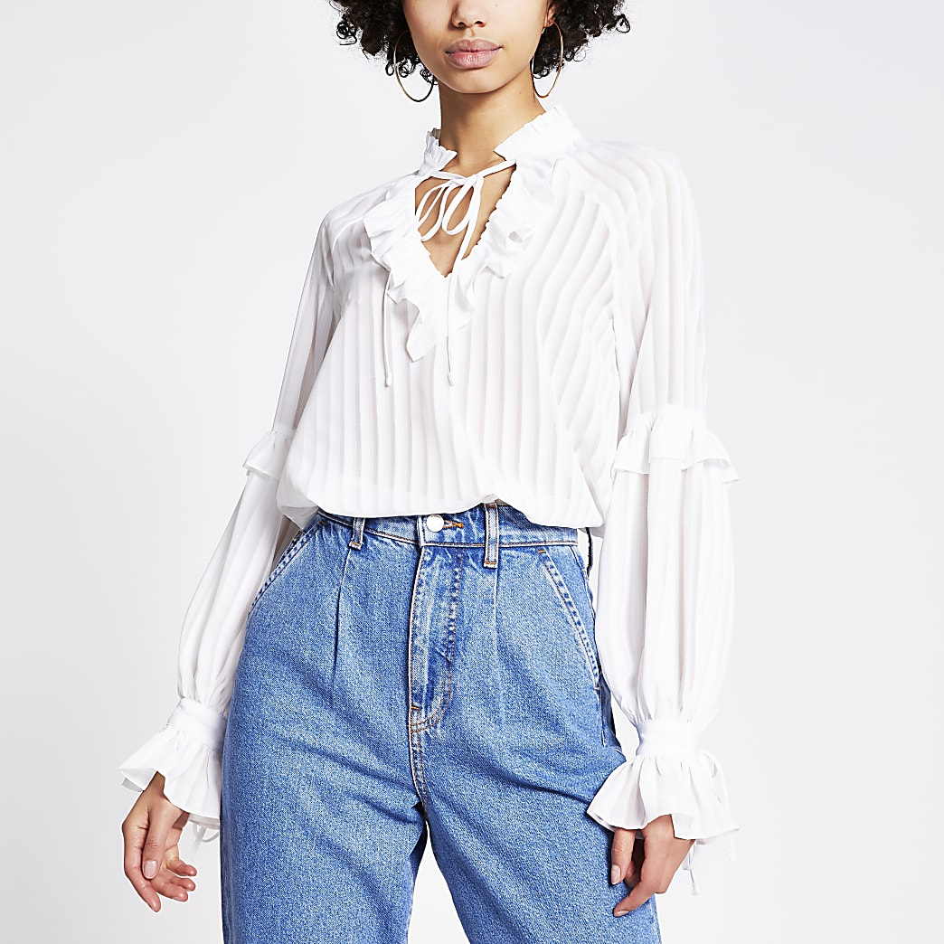 White sheer stripe frill V neck blouse