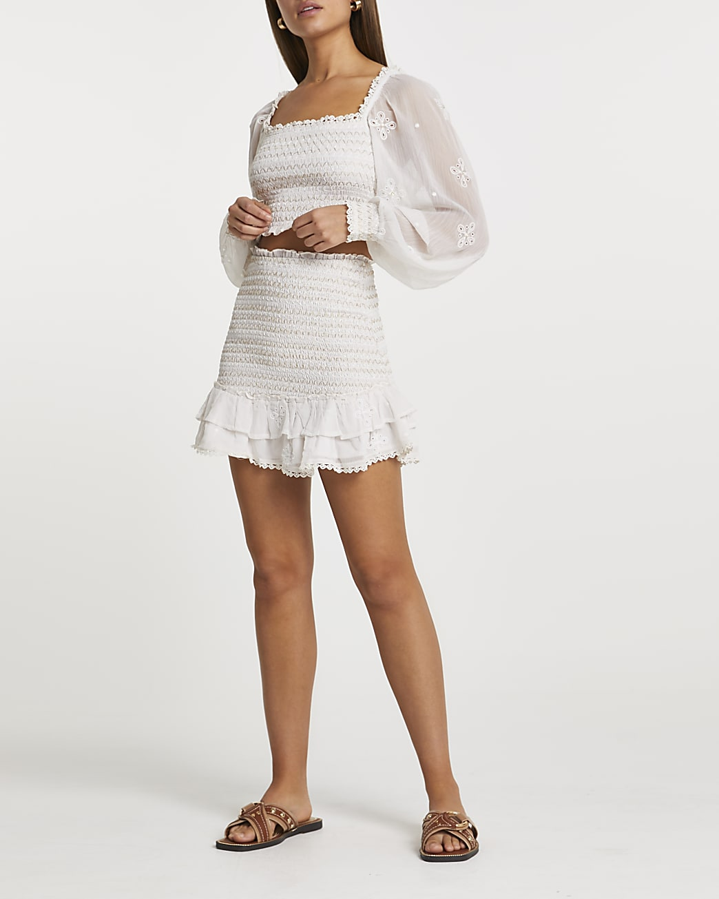 White shirred chiffon tiered mini skirt