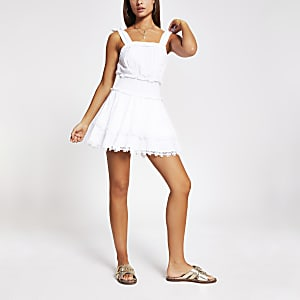 White shirred frill mini beach dress
