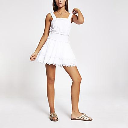 White shirred frill mini beach dress