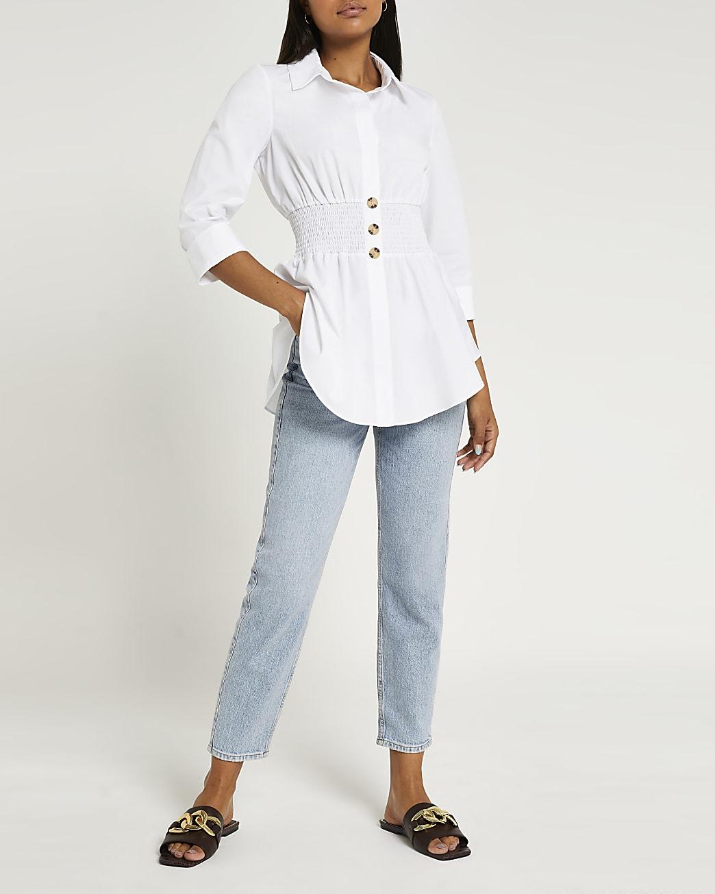 White shirred shirt