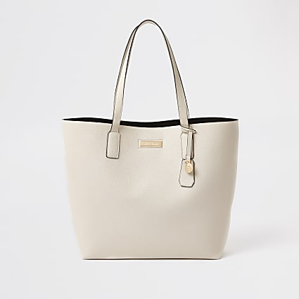 White shopper tote bag