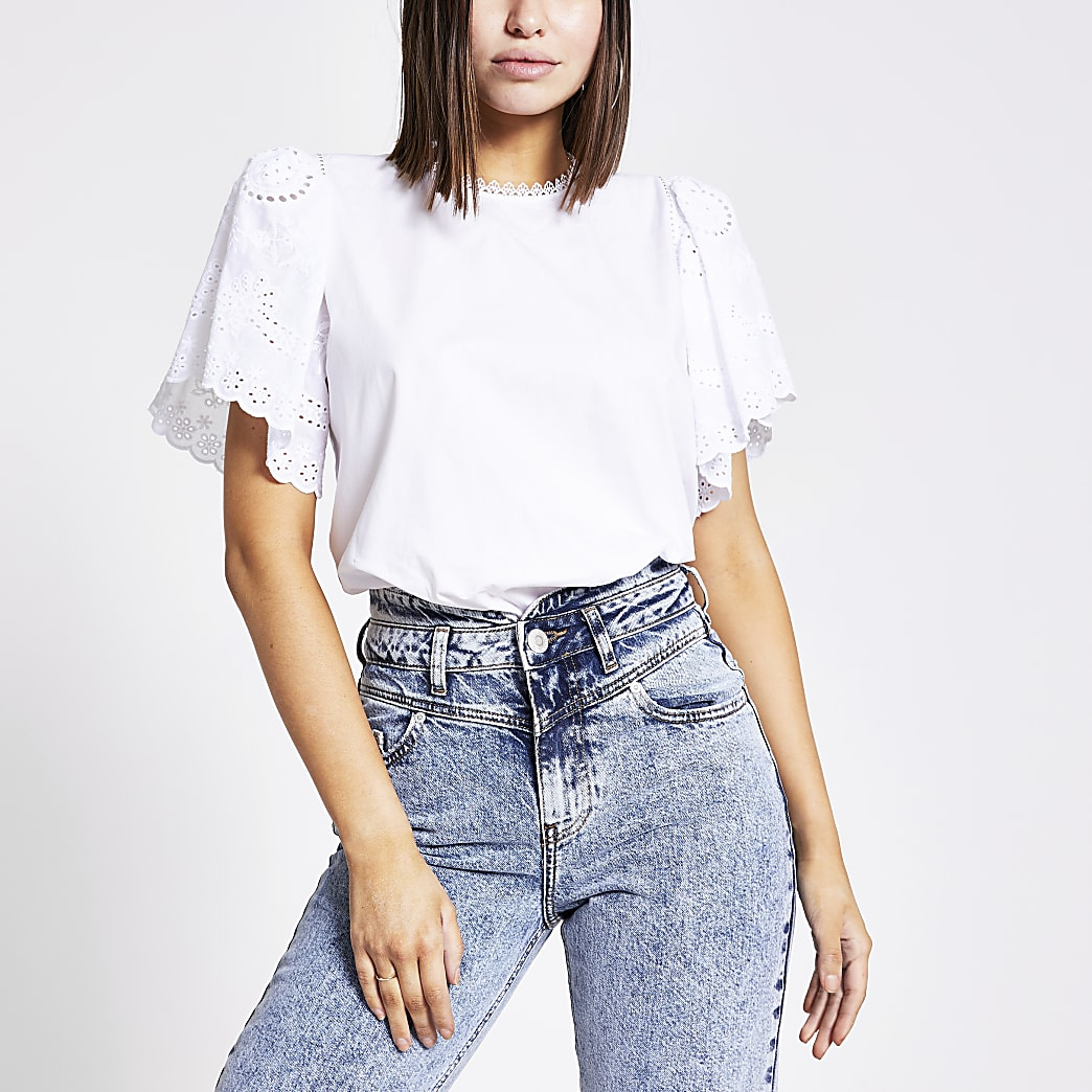 White short broderie sleeve top