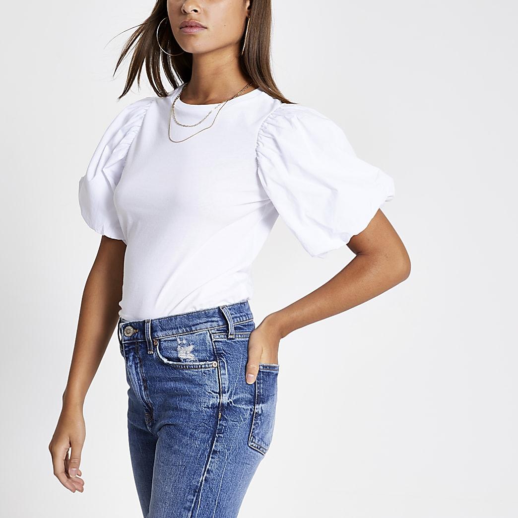 White short puff poplin sleeve T-shirt
