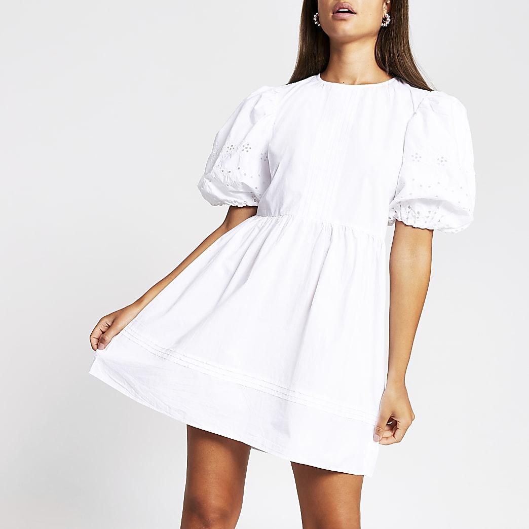 White short puff sleeve broderie mini dress