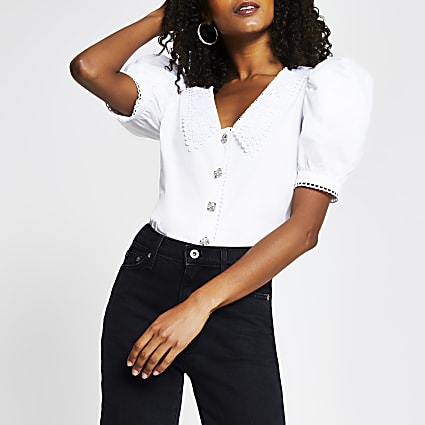 White short puff sleeve collar neck top