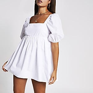 White short puff sleeve playsuit