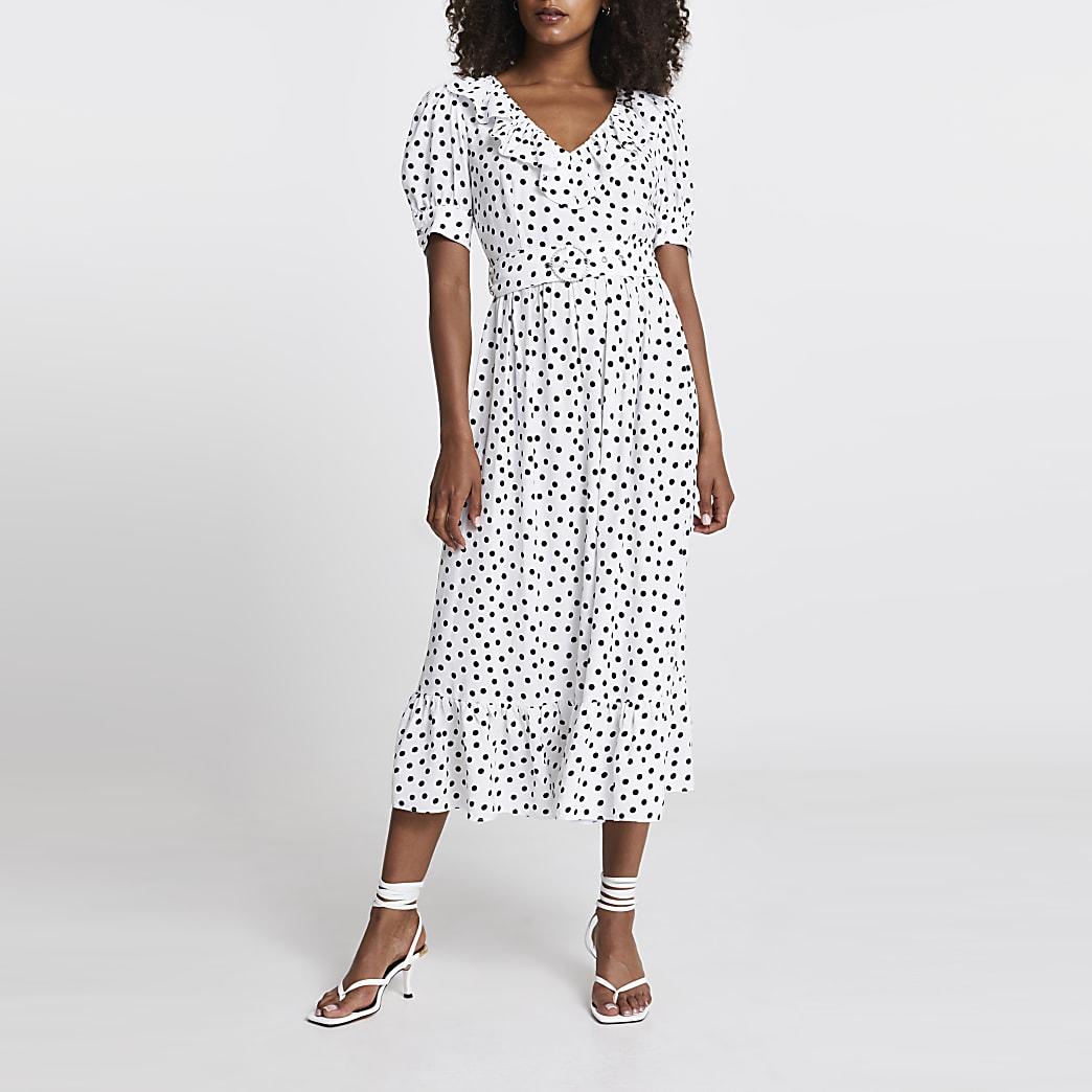 White short puff sleeve spot midi dress