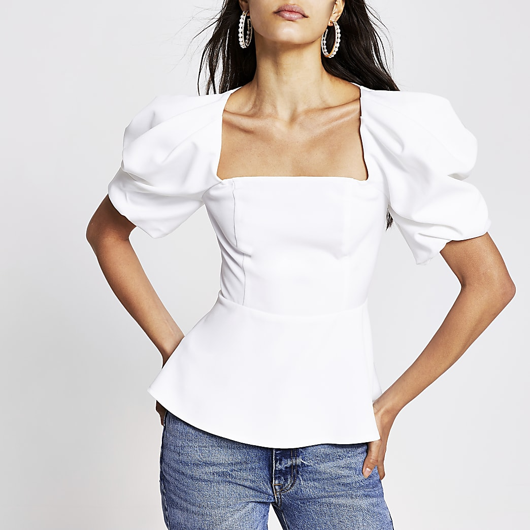 White short puff sleeve square neck top