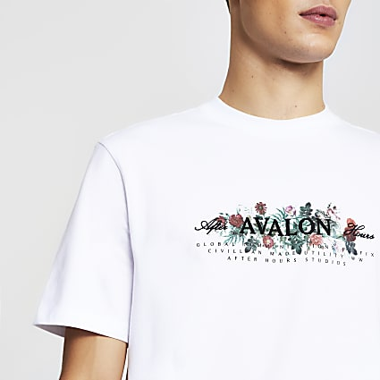 White short sleeve 'Avalon' floral t-shirt