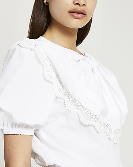 White short sleeve bow puff sleeve top