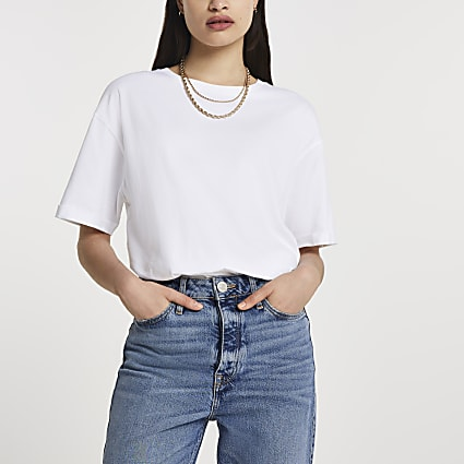 White short sleeve boyfriend multibuy t-shirt