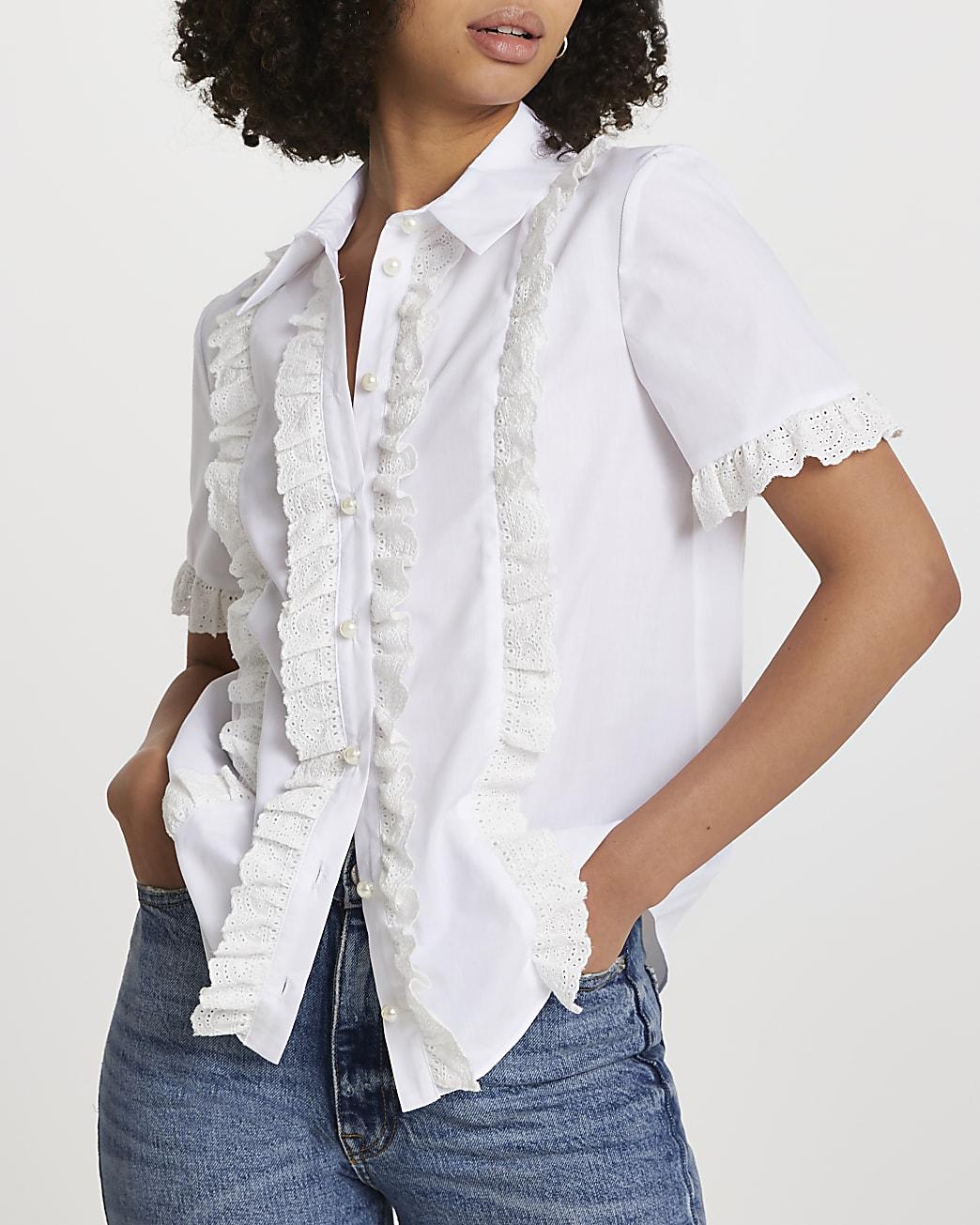 White short sleeve broderie frill shirt