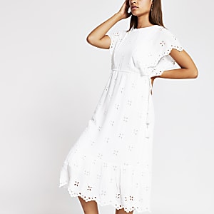 White short sleeve broderie midi dress