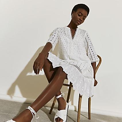 White short sleeve broderie shirt beach dress