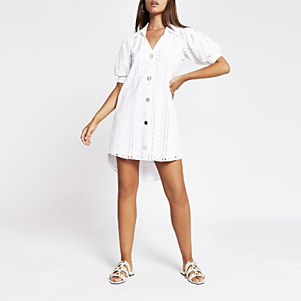 White short sleeve broderie shirt mini dress