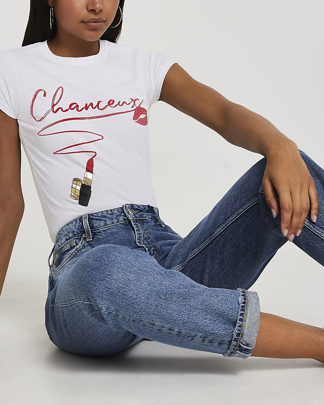 White short sleeve 'Chanceux' t-shirt