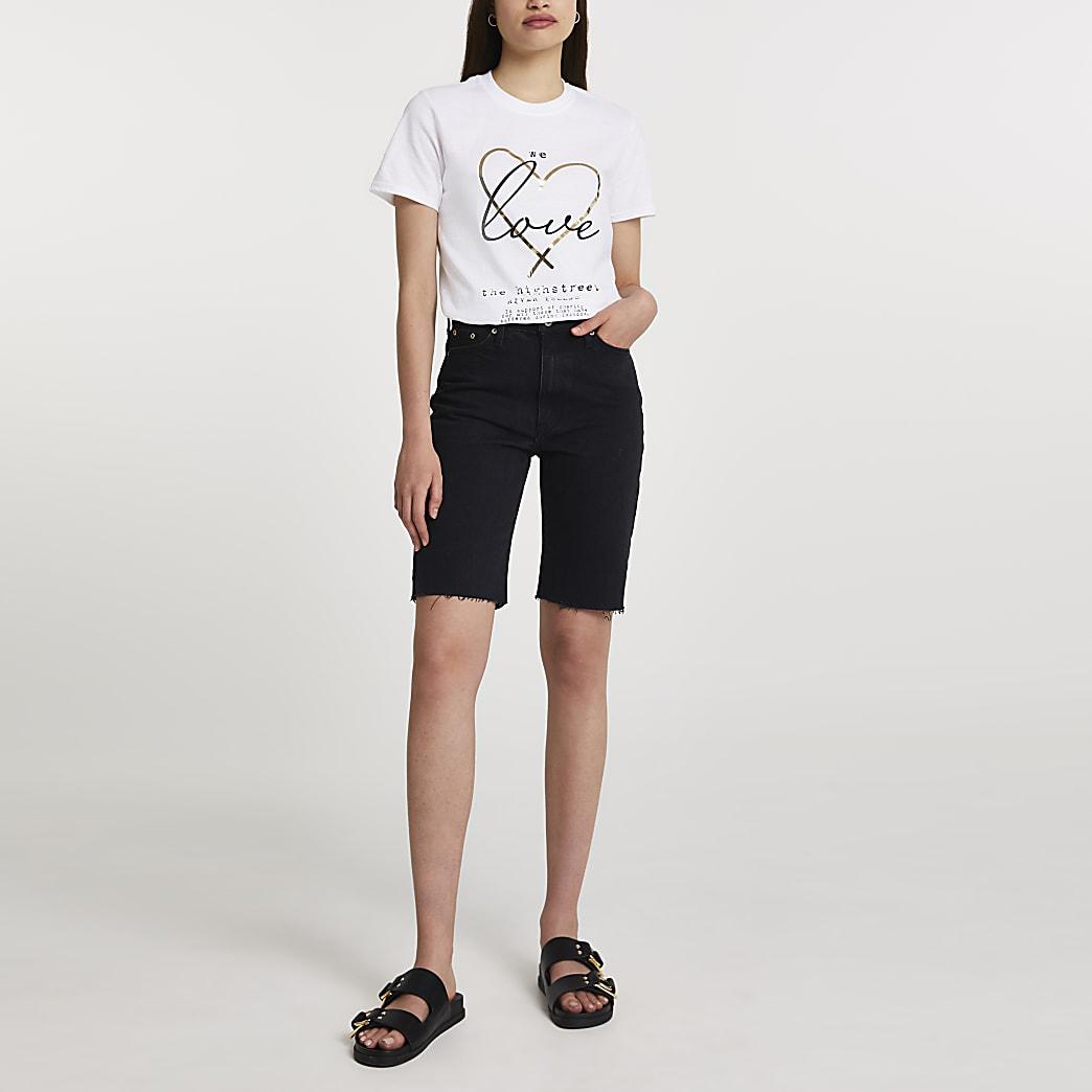 White short sleeve charity boyfriend t-shirt