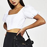White short sleeve corset top