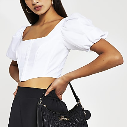 White short sleeve corset top