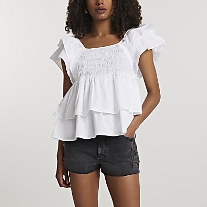 White short sleeve frill layered poplin top
