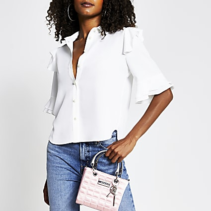 White short sleeve frill shoulder shirt