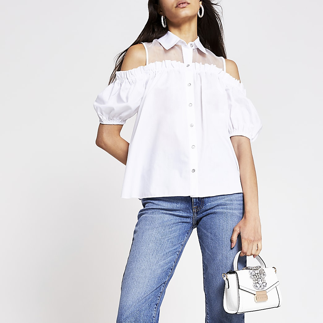 White short sleeve hybrid shirt