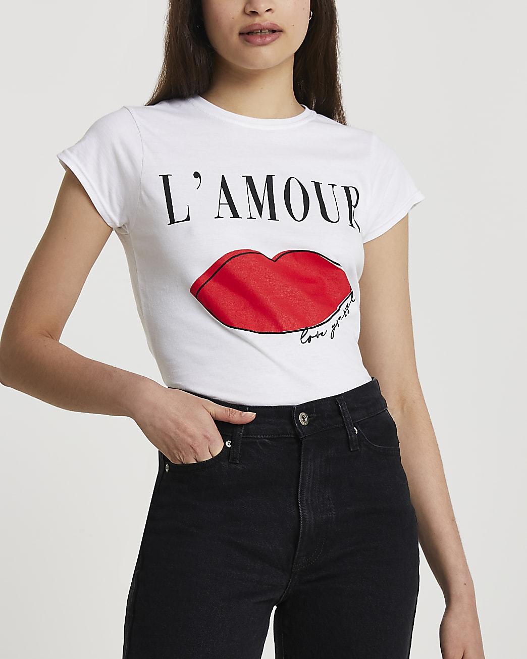 White short sleeve L'amour t-shirt