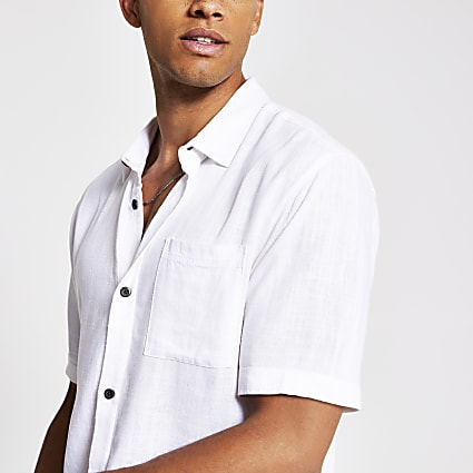 White short sleeve linen regular fit shirt