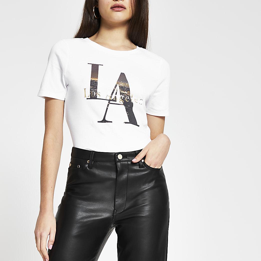 White short sleeve 'Los Angeles' t-shirt