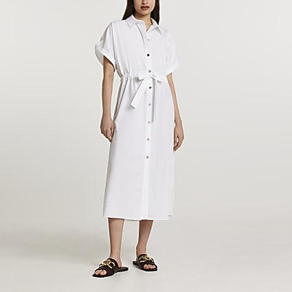 White short sleeve midi shirt dress