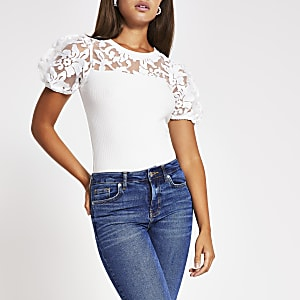 White short sleeve organza puff sleeve top