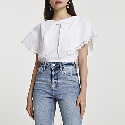 White short sleeve oversized bow collar top
