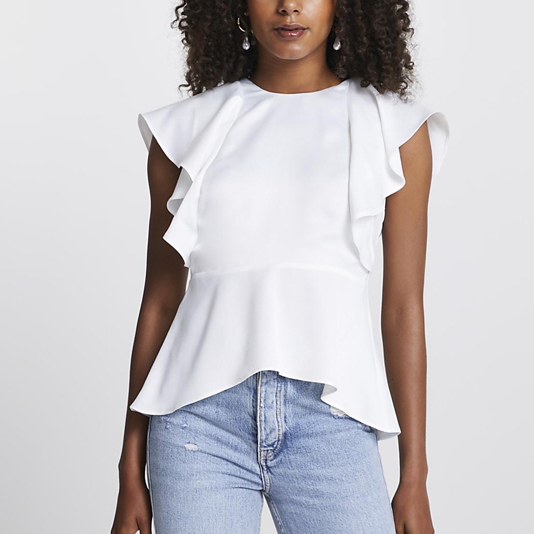 White short sleeve peplum blouse