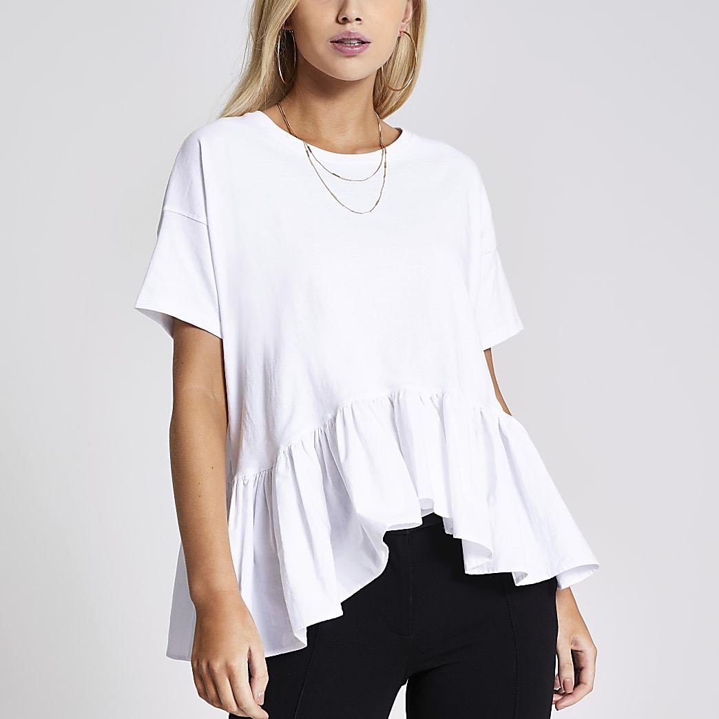 White short sleeve peplum smock  T-shirt