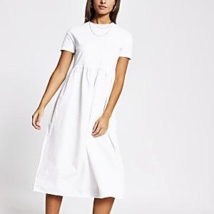 Weißes, kurzärmeliges T-Shirt-Kleid aus Popeline in Maxilänge