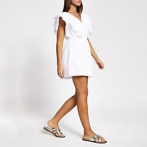 White short sleeve poplin playsuit