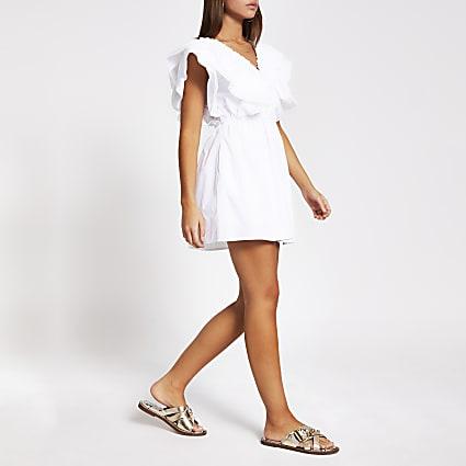 White short sleeve poplin playsuit
