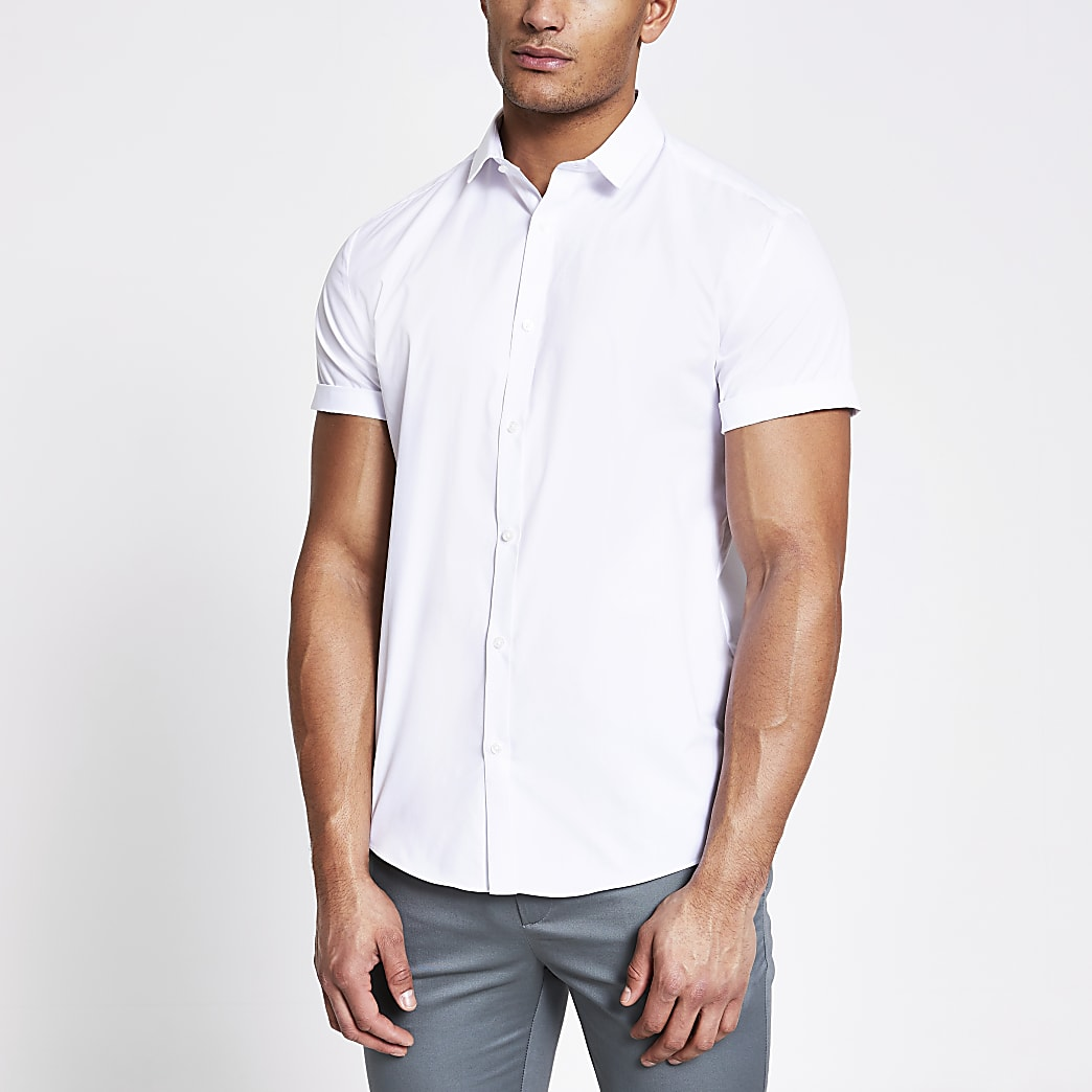 White short sleeve regular fit shirt