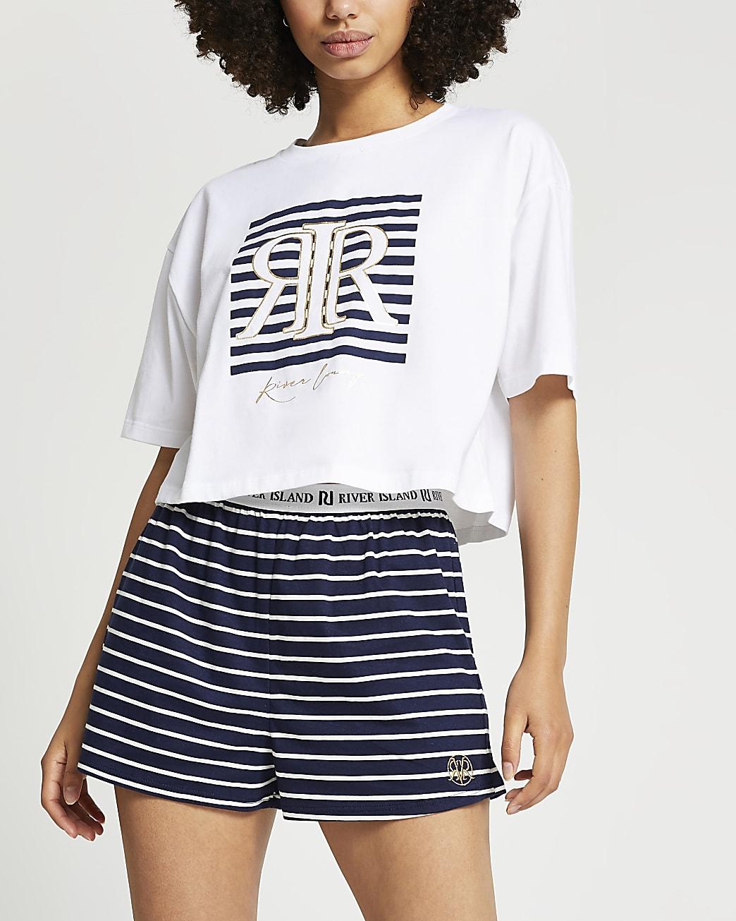 White short sleeve RIR stripe PJ set
